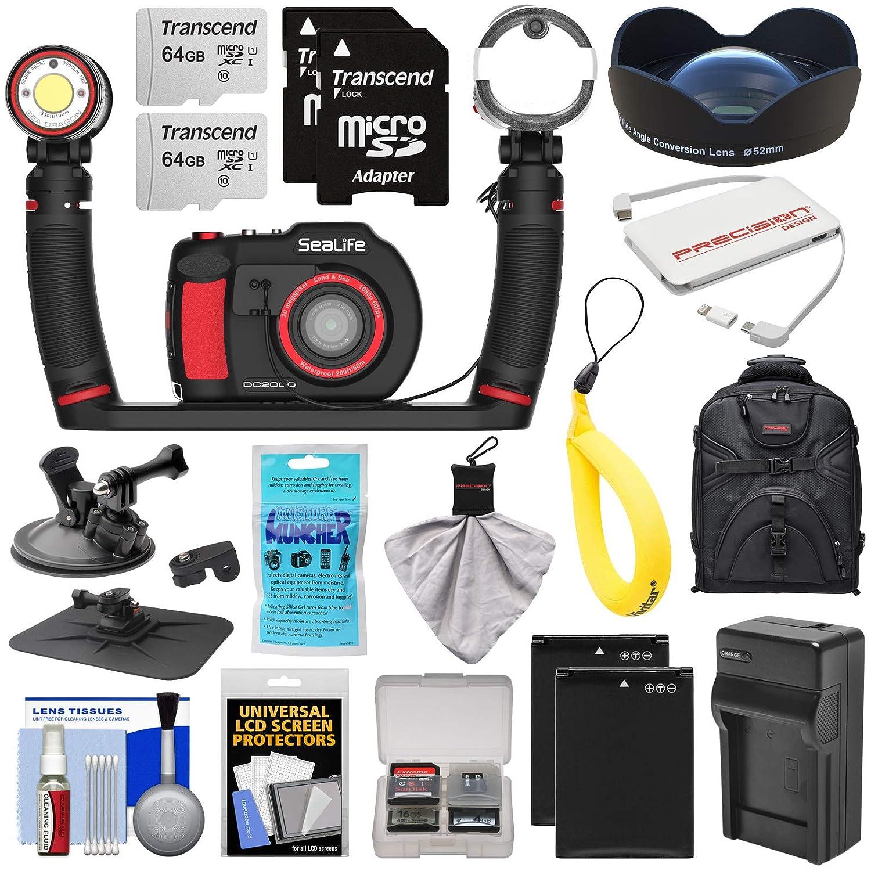SeaLife DC2000 Pro Duo HD 水中デジタルカメラ Sea Dragon 3000ライト/フラッシュセット& 0.75x広角レンズ + (2) 64GBカード + バッテリー & 充電器 + マウント + バックパックキット   B07L4YWLBF