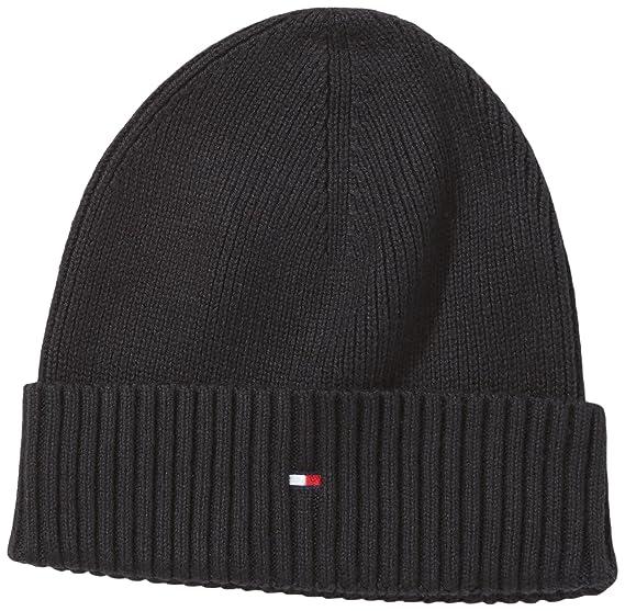 3505634b9c3 Tommy Hilfiger - pima - bonnet - homme - noir (flag black) - tu  Amazon.fr   Vêtements et accessoires
