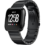 GOSETH for Fitbit Versa ステンレス バンド フィットビットVersa 金属 交換用ベルト 留め金製ビジネス用腕時計ストラップ 全3色(ブラック 2)