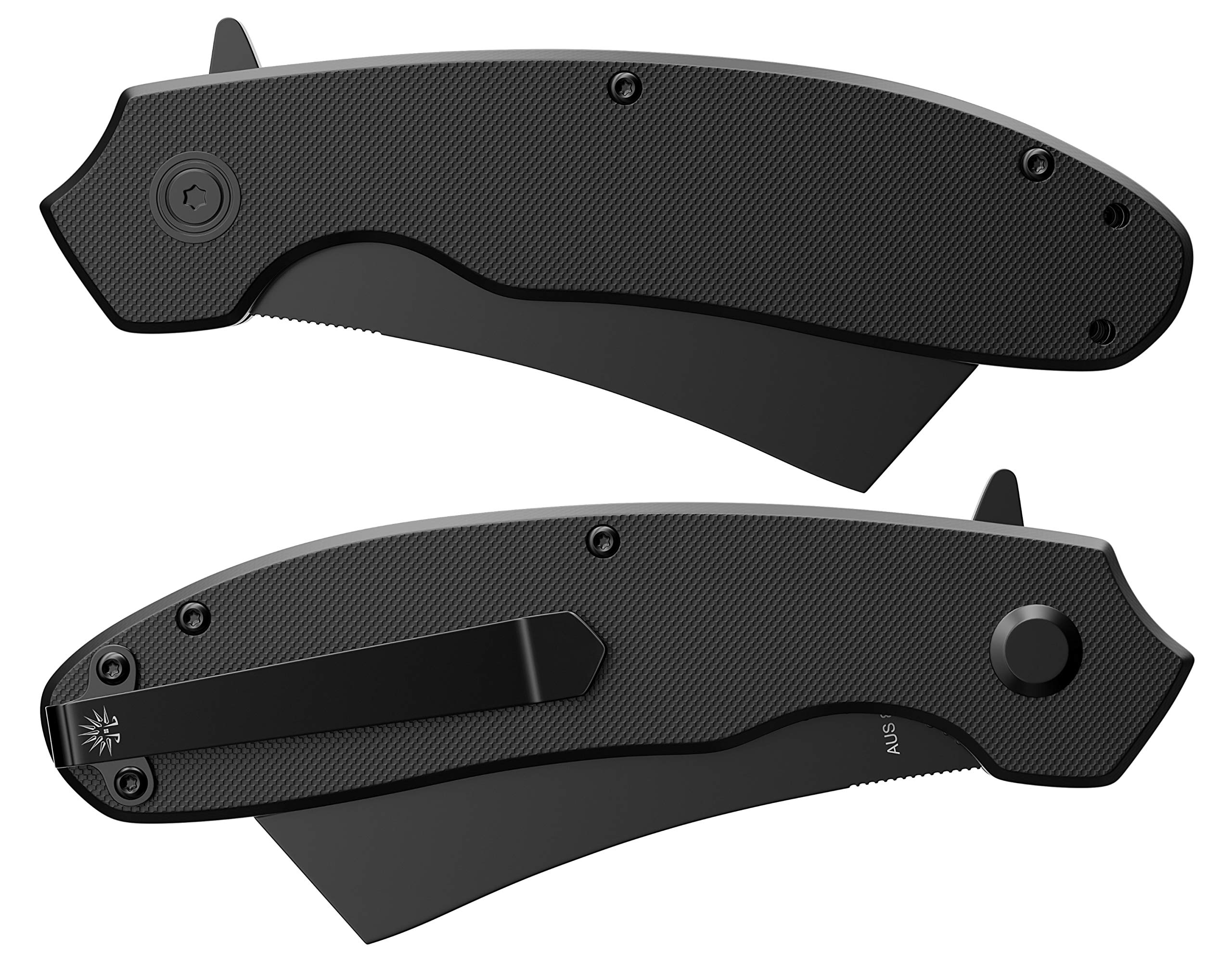 Off-Grid Knives - OG-950B Cleaver Blackout - Legal Carry Tough EDC Folding Knife - Cryo AUS8 Blade Steel with Titanium Nitride Coating, G10 Scales & Tip-Up Reversible Deep Carry by Off-Grid Knives (Image #7)