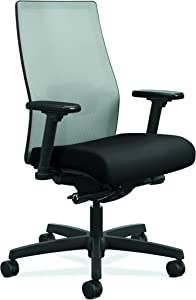 HON Ignition 2.0 Mid-Back Adjustable Lumbar Work Chair - Fog Mesh Computer Chair for Office Desk, Black Fabric