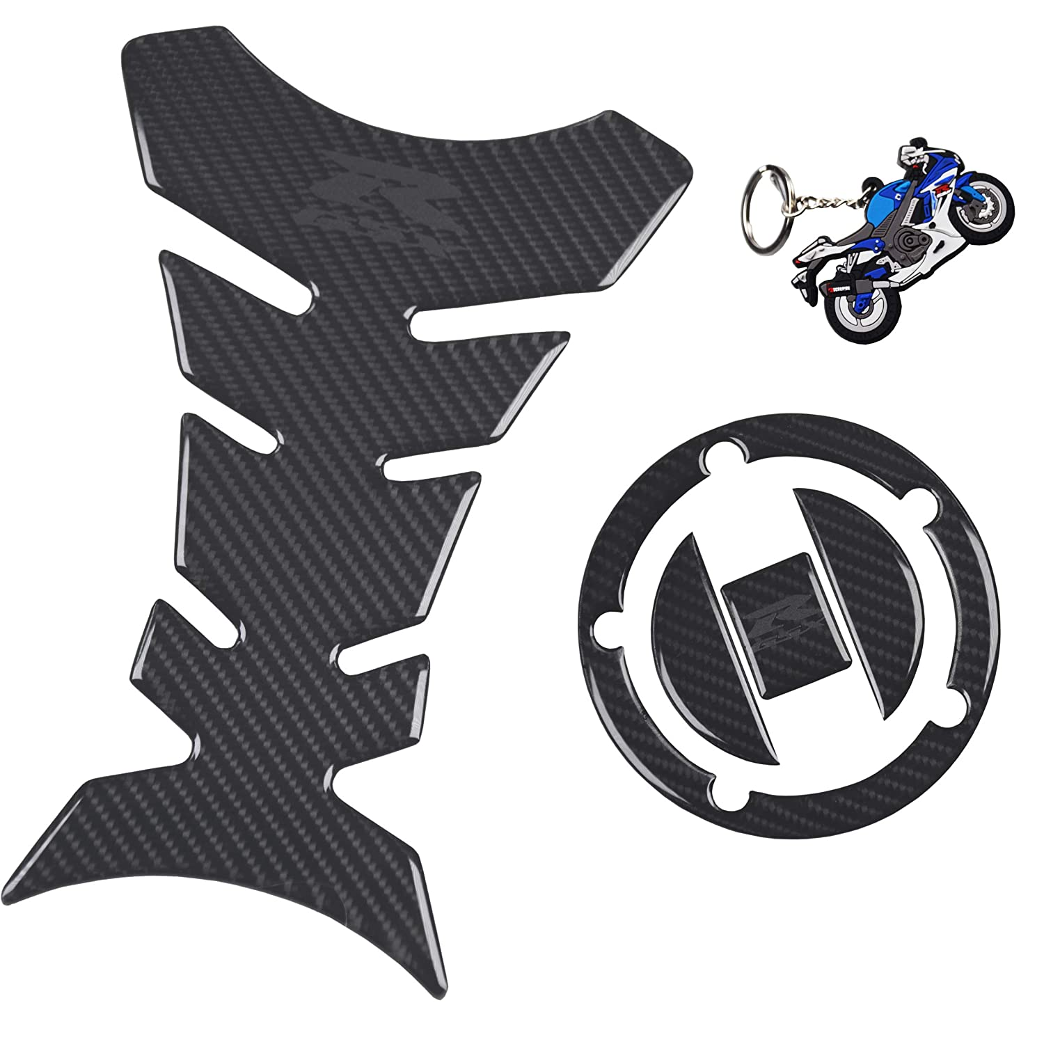 3pcs tank pad set Real Carbon look GSXR Gas Cap Fuel Cap Decal Tank Pad Decal Stickers Tank Pad Protector Grey gsxr for GSXR 600 GSXR 750 GSXR 1000 K6 K7 K8 K9 L1 2006-2017 and GSXR650 keychain