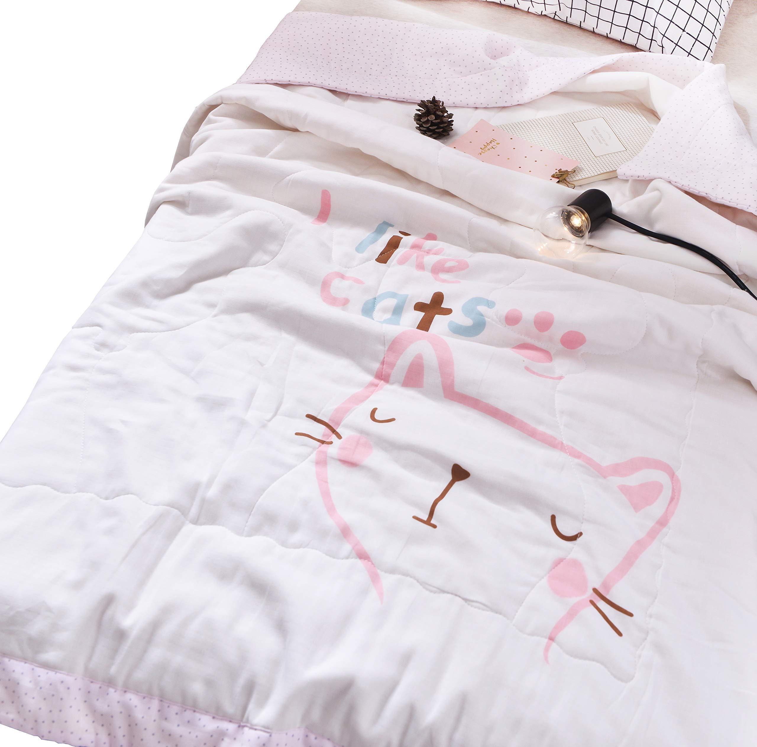 Scientific Sleep Kids Cute Kitty Cats Cartoon Muslin Quilt Comforter Thin Bed Coverlet Blanket for Toddler Boys & Girls Crib Bedding Gift, 47' X 59'' (5)