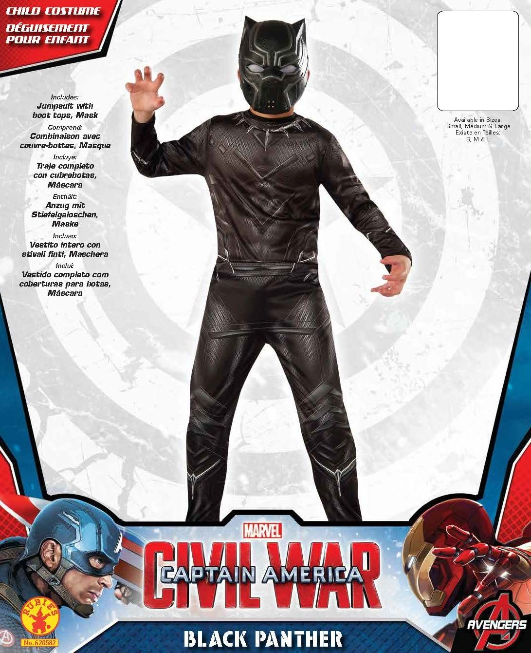 Rubies Costume Captain America: Civil War Value Black Panther Costume, Small