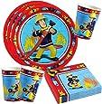 Pompier Sam - Set Assiettes de Fête Gobelet Serviettes Couverts Fête