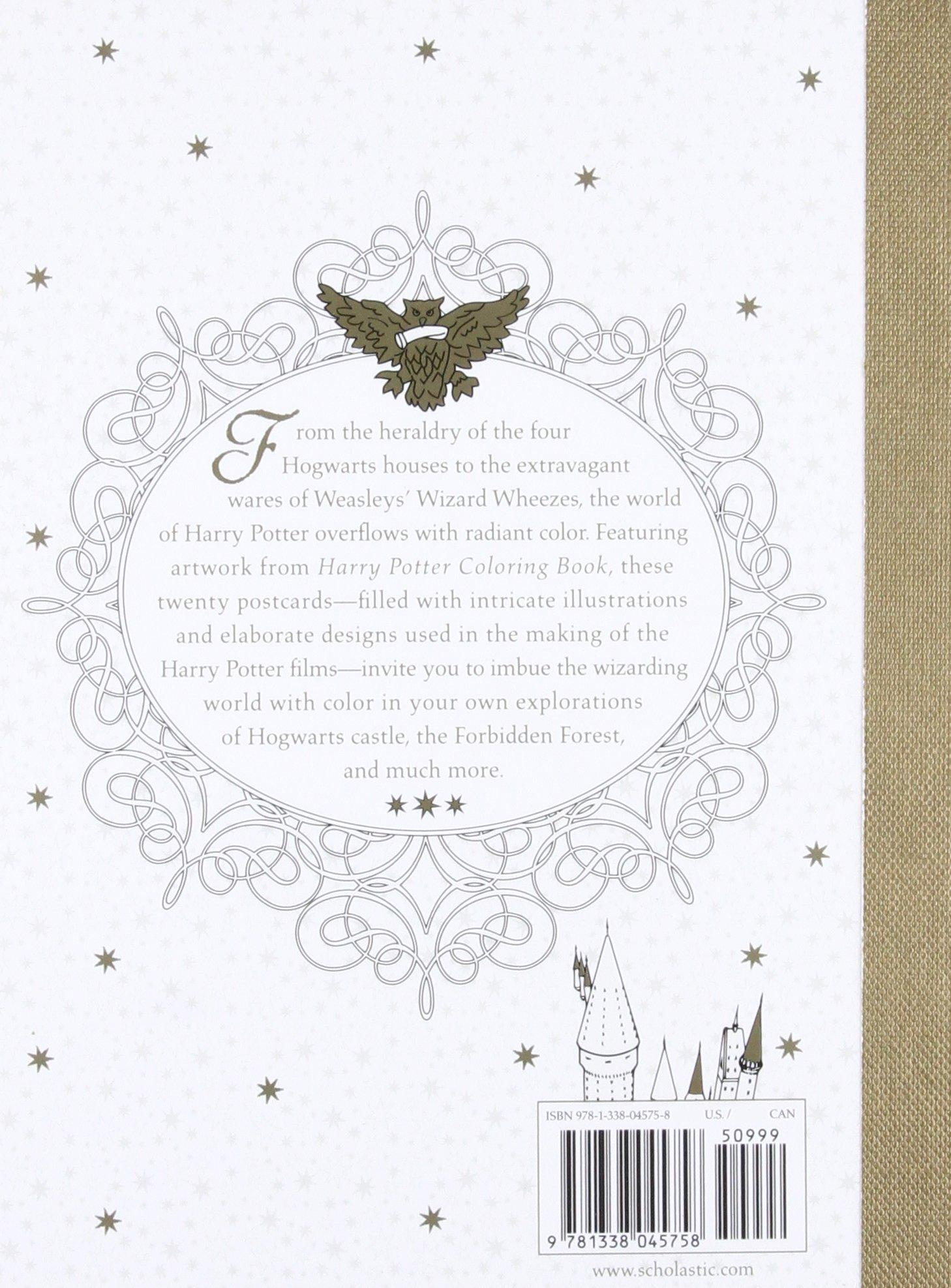 Harry Potter Postcard Coloring Book Scholastic 9781338045758