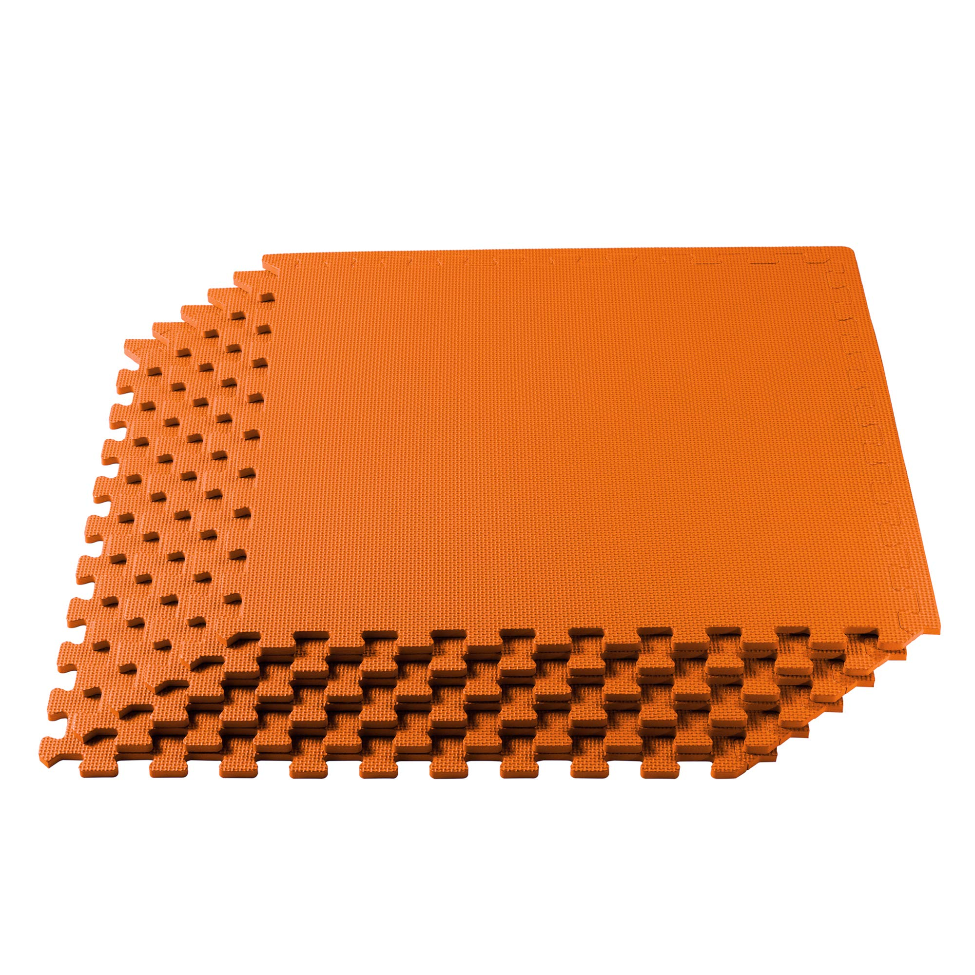 We Sell Mats Multipurpose Exercise Floor Mat with EVA Foam, Interlocking Tiles, Anti-Fatigue, for Home or Gym, 16 Square Feet (4 Tiles), 24 x 24 x 3/8 Inches, Orange