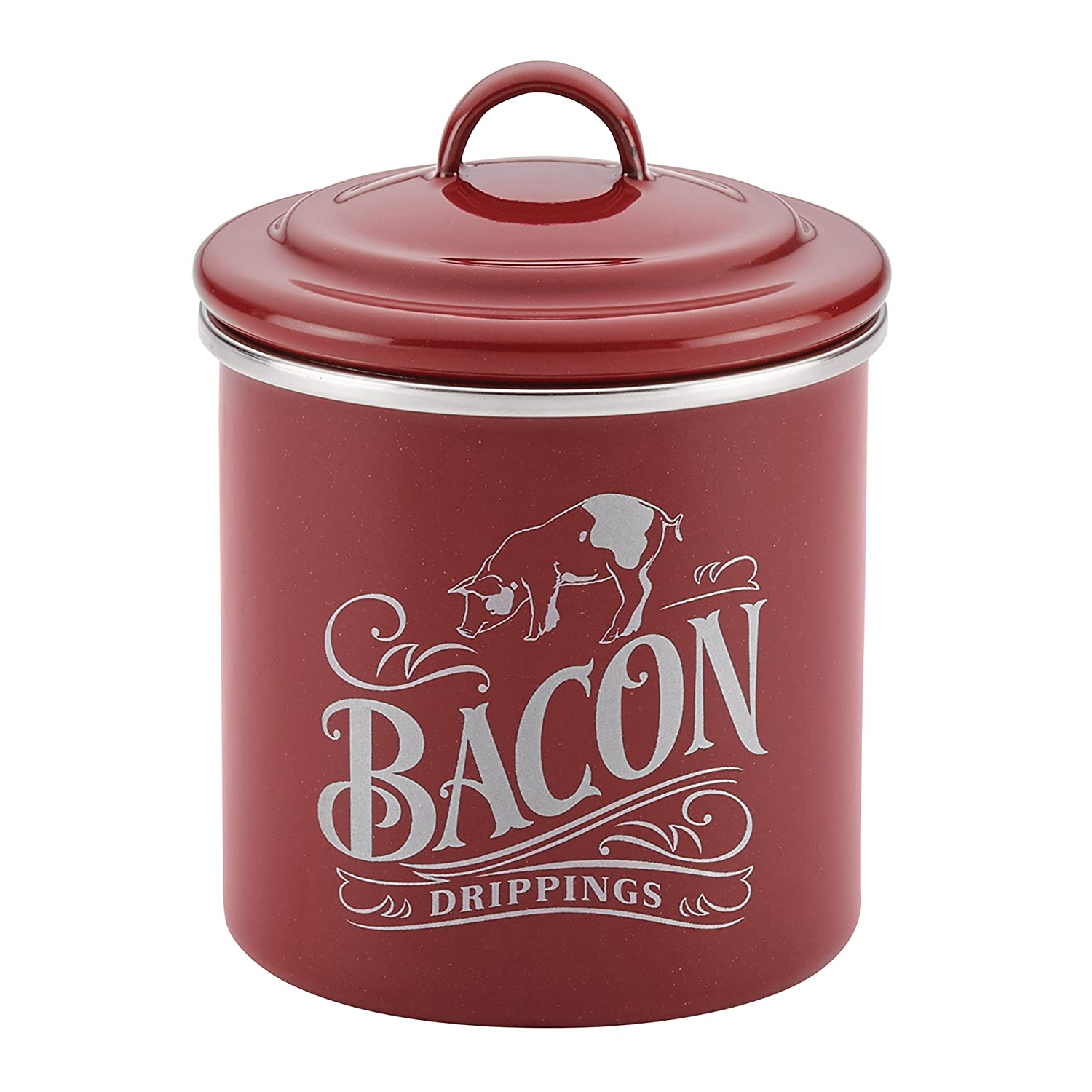 Ayesha Collection Enamel on Steel Bacon Grease Can, 4-Inch by 4-Inch, Sienna Red