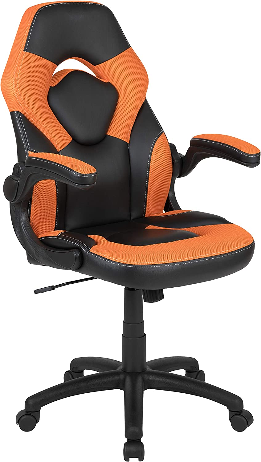 Flash Furniture X10 Gaming Chair Racing Office Ergonomic Computer PC Adjustable Swivel Chair with Flip-up Arms, Orange/Black LeatherSoft