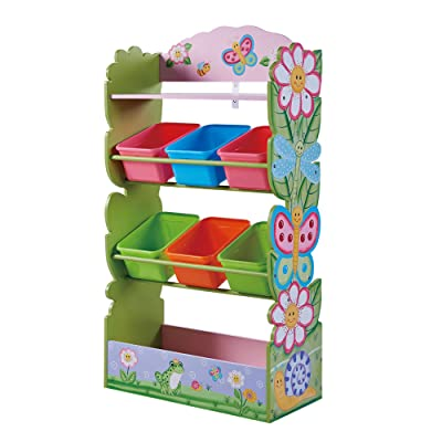 Fantasy Fields - Magic Garden Kids' Toy Organizer with 6 Combo Bins and Extra Storage, Pink: Toys & Games