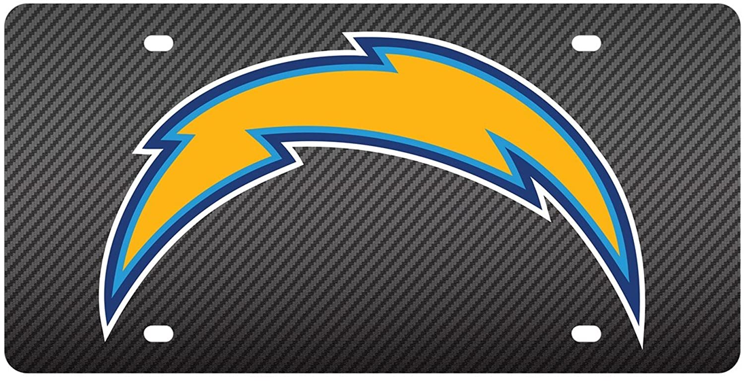 Los Angeles Chargers CARBON FIBER Deluxe Laser Cut License Plate Tag Football