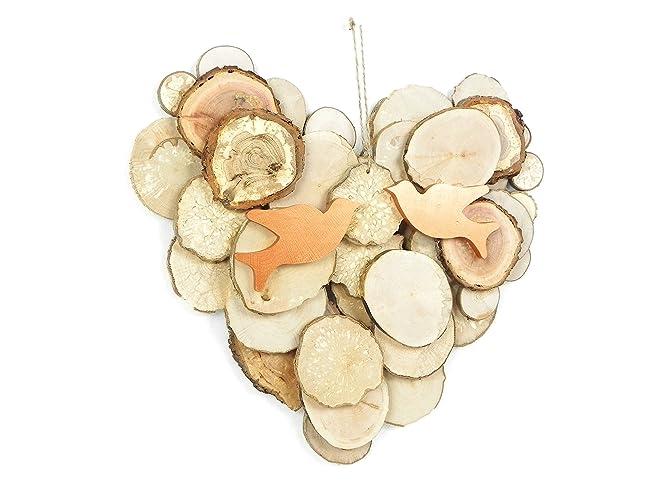 Wooden romantic wall decoration, wooden heart, wood wall heart, hand ...