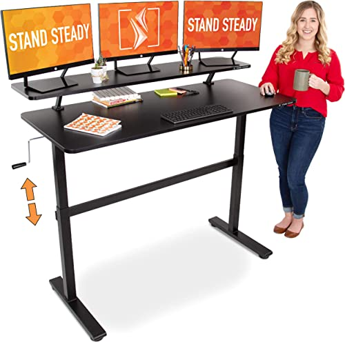 Stand Steady Tranzendesk 55 in Standing Desk with Clamp On Shelf Easy Crank Height Adjustable Stand Up Workstation with Attachable Monitor Riser Holds 3 Monitors Adds Desk Space 55 Black