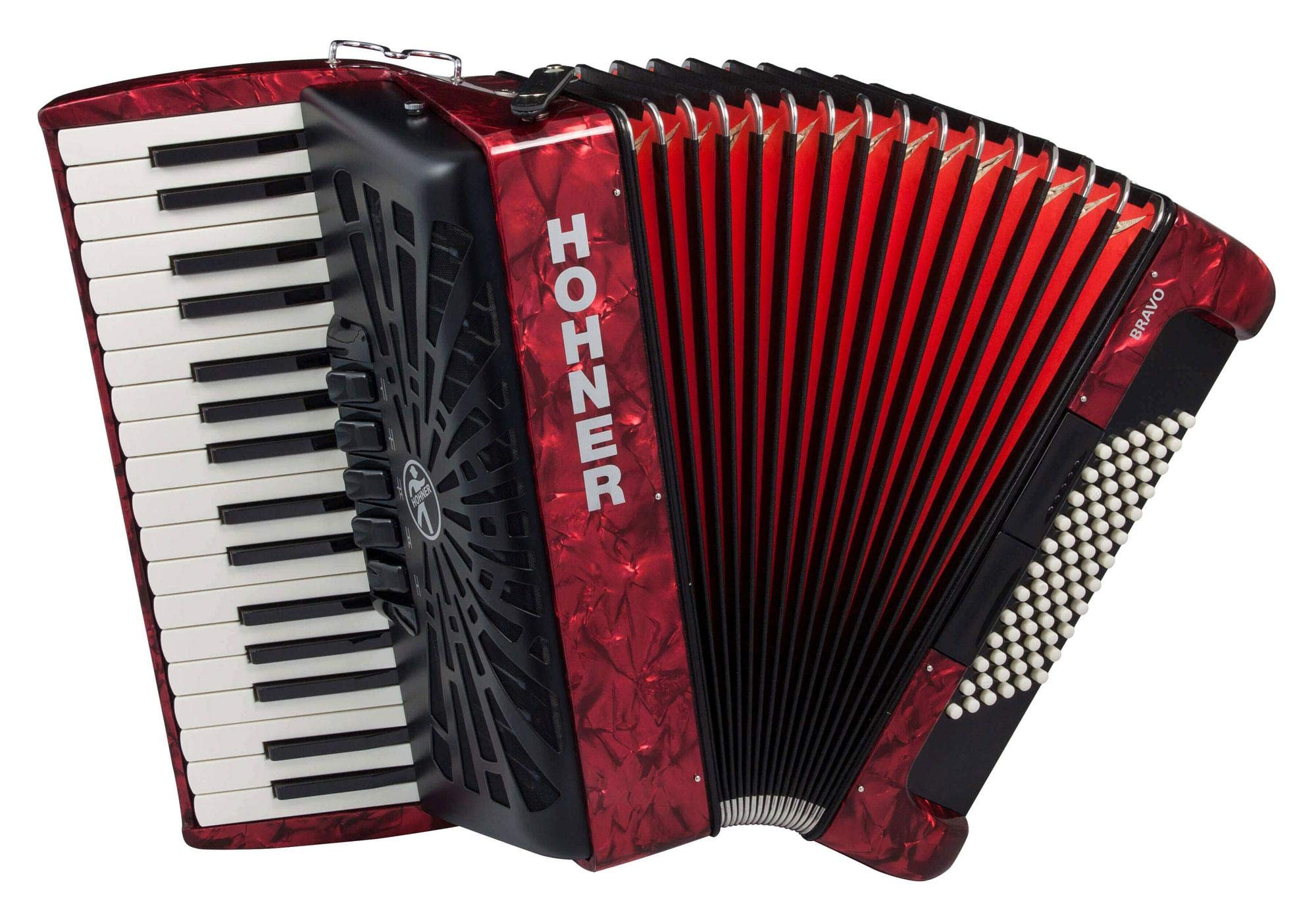 Hohner A16631S Bravo Line Facelift III -72 Bass Chromatic Piano Accordion with Gig Bag, Red by Hohner Accordions