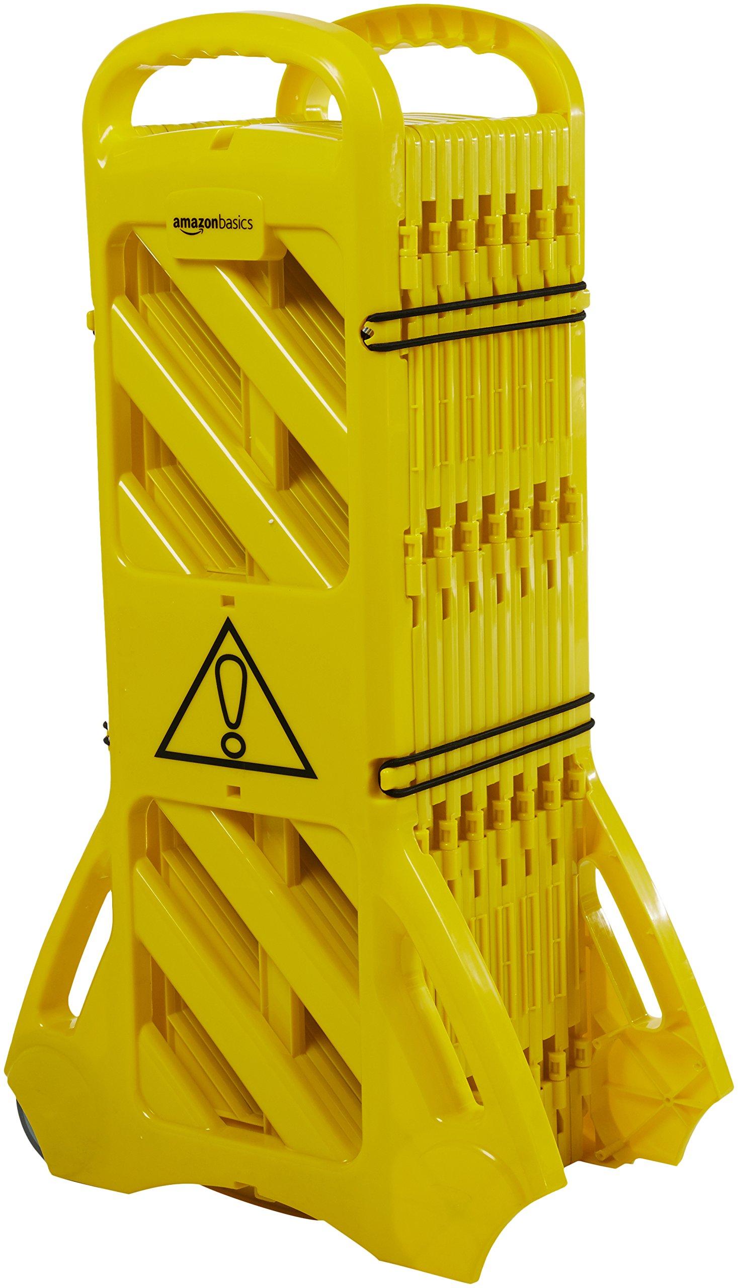 AmazonBasics Expandable Mobile Barricade Fence System, Yellow by AmazonBasics