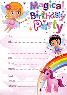 pack of 20 childrens birthday party invites girls fairys pony - Girl Birthday Party Invitations