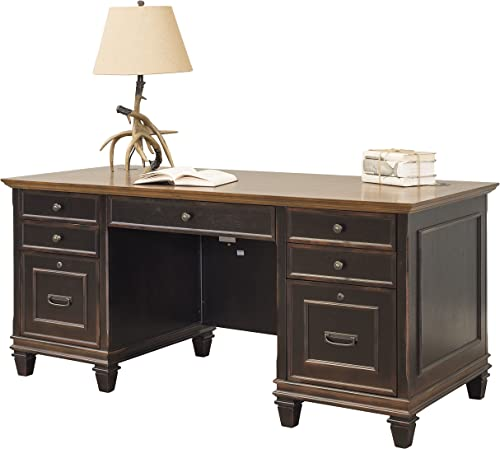 Martin Furniture Hartford Double Pedestal Shaped Desk, Brown – Fully Assembled