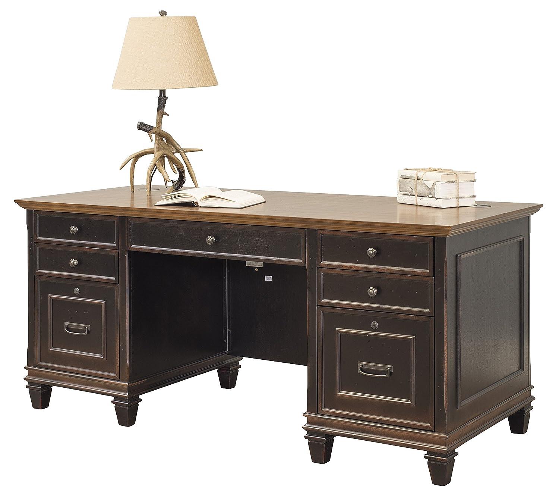 Martin Furniture Hartford Double Pedestal Shaped Desk, Brown – Fully Assembled
