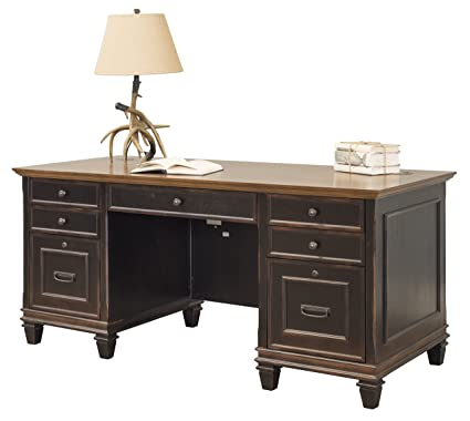 Martin Furniture Hartford Double Pedestal Shaped Desk, Brown   Fully  Assembled