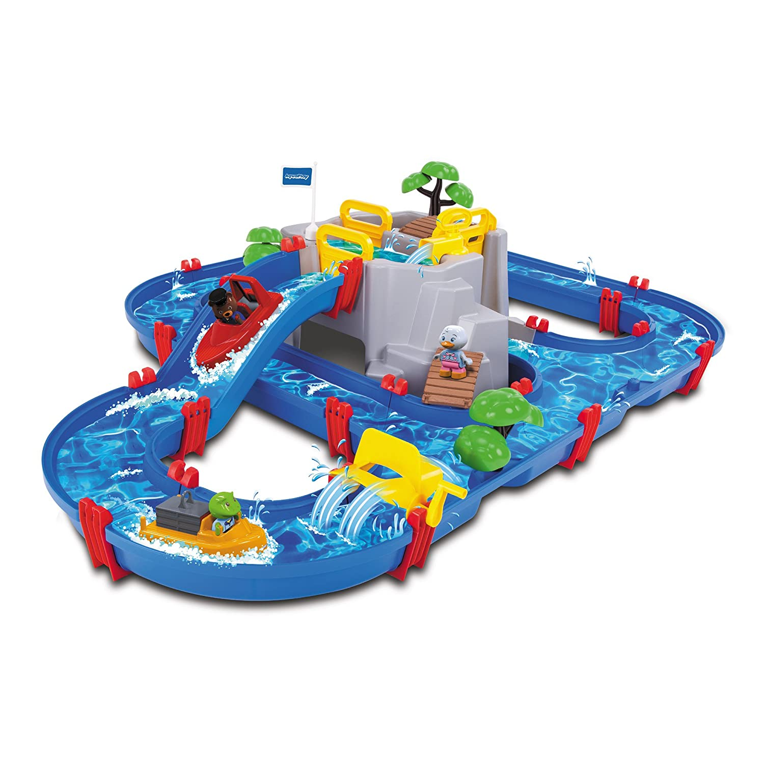 Aquaplay Mountain Lake Waterway Canal System Toy with Lock Gates, Crane, Speed Boat and Animal Figures, Easy To Assemble Water Table