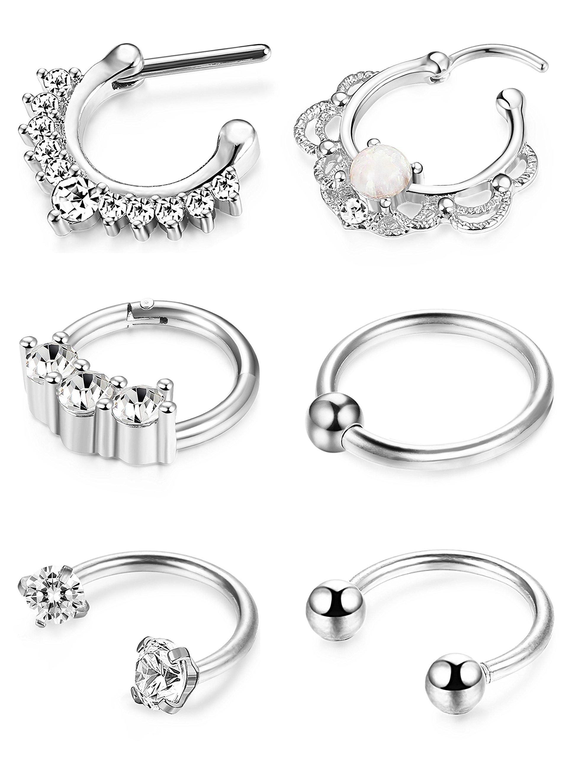 BodySparkle Body Jewelry Set of Two Black 20g-18g-16g-14g Captive Bead Rings-Daith Earrings-Steel CBR-Septum-Nipple-Lip Hoop