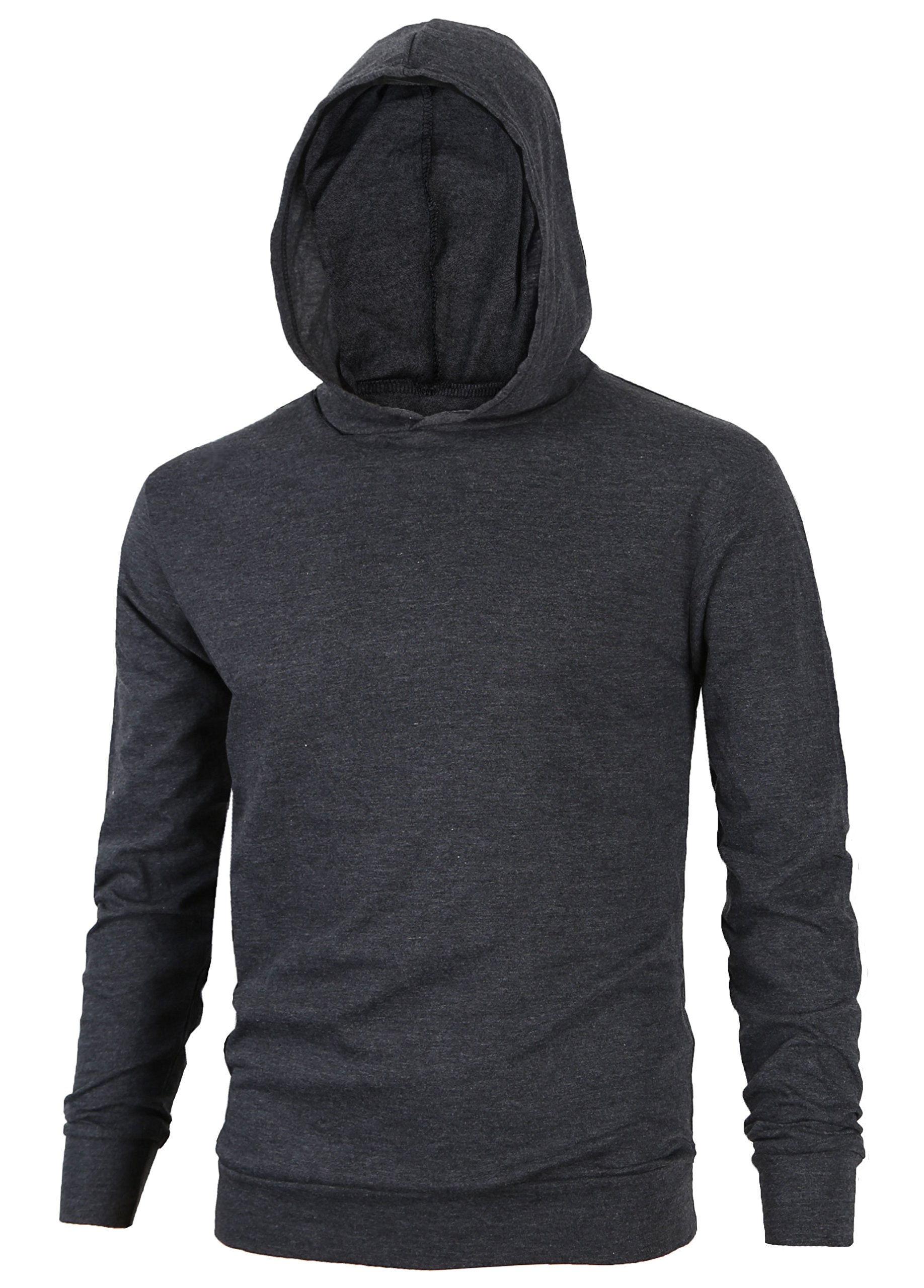 MAJECLO Mens Lightweight Cotton Pullover Long Sleeve Hoodie Sweatshirt(Small,Charcoal)