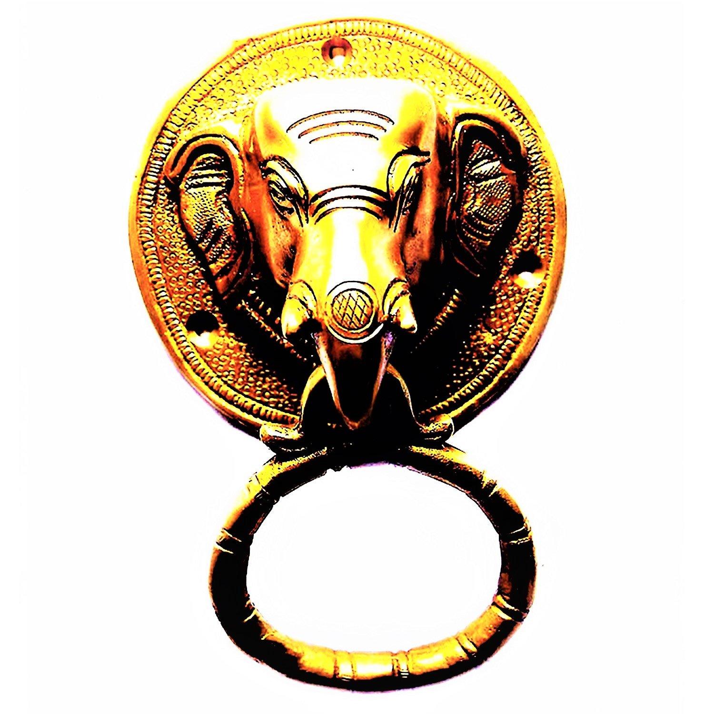 Purpledip Laiton Heurtoir de porte en mé tal: ancien Motif tê te d'é lé phant Gate (Poigné e 11019) Elephant Head