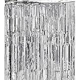 Super Z Outlet 3x8-Feet Metallic Silver Foil Fringe Shiny Curtain