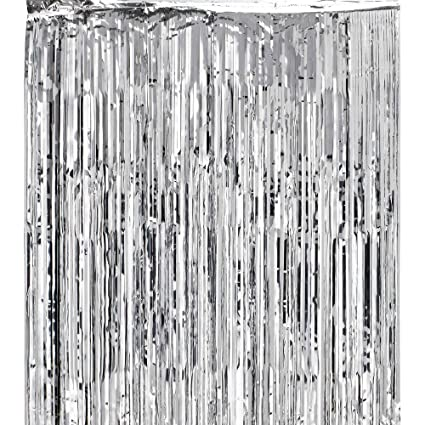 Super Z Outlet Metallic Silver Foil Fringe Shiny Curtains For Party Prom Birthday