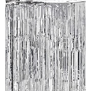 Super Z Outlet 3x8 Feet Metallic Silver Foil Fringe Shiny Curtain