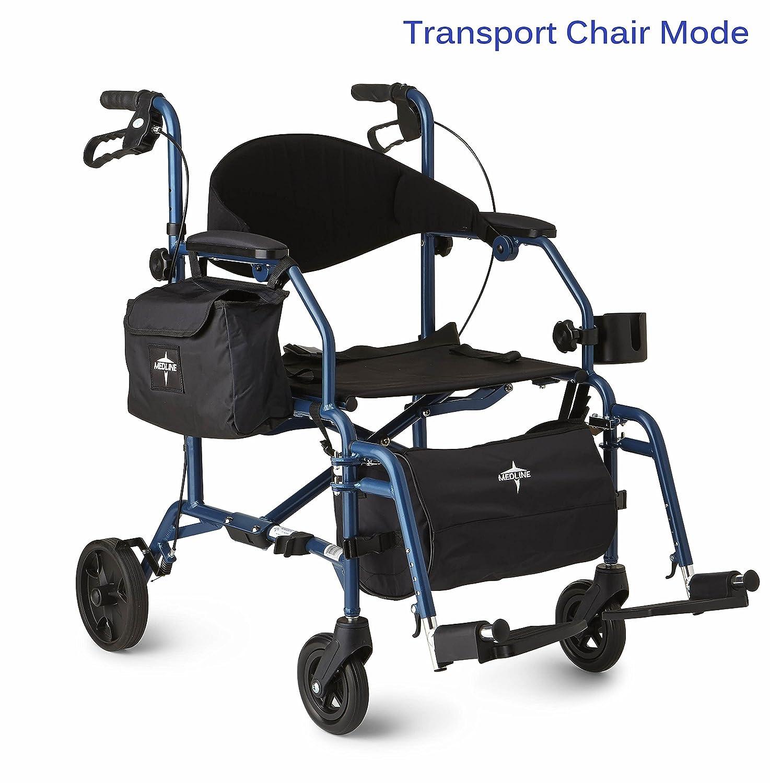 Transport chair amazon - Amazon Com Medline Combination Rollator Transport Chair Blue Health Personal Care