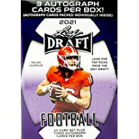 $54 » 2021 Leaf Draft Football box (50-card set & THREE Autograph cards/bx)