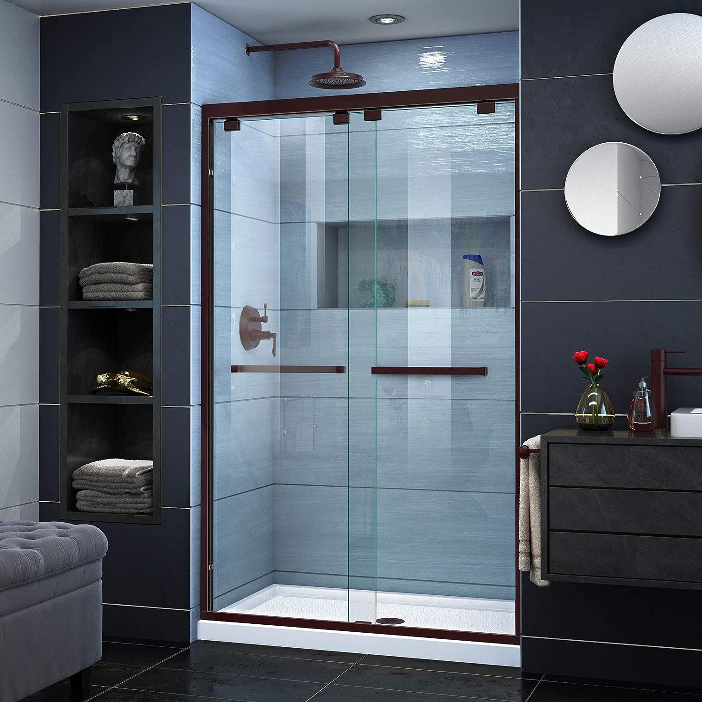 DreamLine Encore 44-48 in. W x 76 in. H Frameless Semi-Frameless Bypass Shower Door in Oil Rubbed Bronze, SHDR-1648760-06