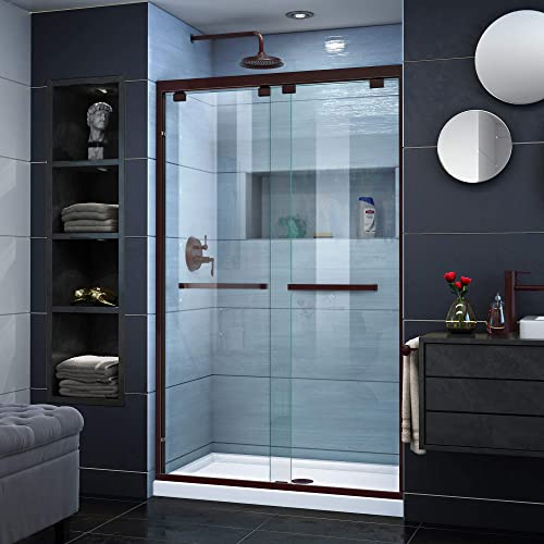 DreamLine Encore 44-48 in. W x 76 in. H Semi-Frameless Bypass Shower Door in Oil Rubbed Bronze, SHDR-1648760-06