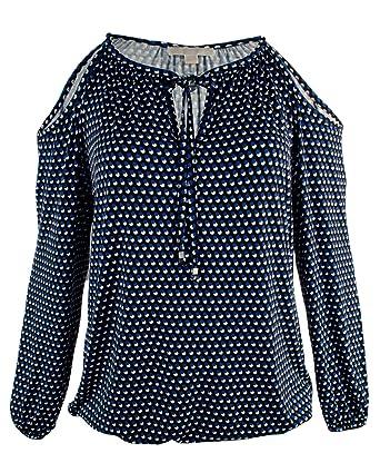 177c72fba75 Michael Kors Women s Plus Size Cold Shoulder Peasant Shirt Top (0X (12W)