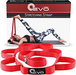 Yoga EVO Elastic Stretching Strap with Loops - eBook, Video Exercises & Carrying Bag Included