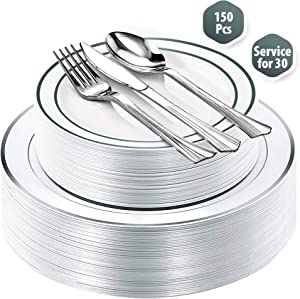 "Fancy Disposable Plastic Plates with Cutlery 150 Piece Combo| 30x 10.25"" + 30x 7.5"" Real China Silver Rim Plates +30 Spoons +30 Forks +30 Knives Silverware for Party Wedding Events