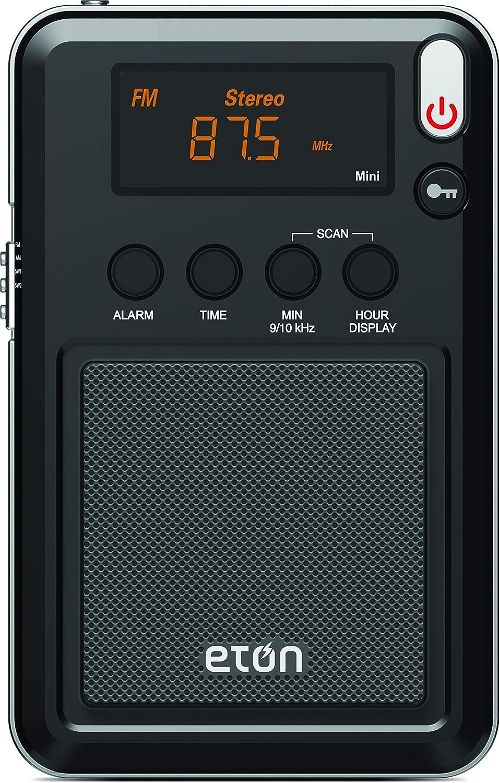 Eton NGWMINIB Mini Compact AM/FM/Shortwave Radio, FM Telescopic Antenna, Digital Tuner with Rich Orange LCD Display, Worldwide Listening, Carrying Pouch, 1-Pack, Black