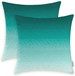 CaliTime Pack of 2 Cozy Fleece Throw Pillow Cases Covers for Couch Bed Sofa Farmhouse Modern Gradient Ombre Rainbow Stripes 20 X 20 Inches Teal to Duck Egg