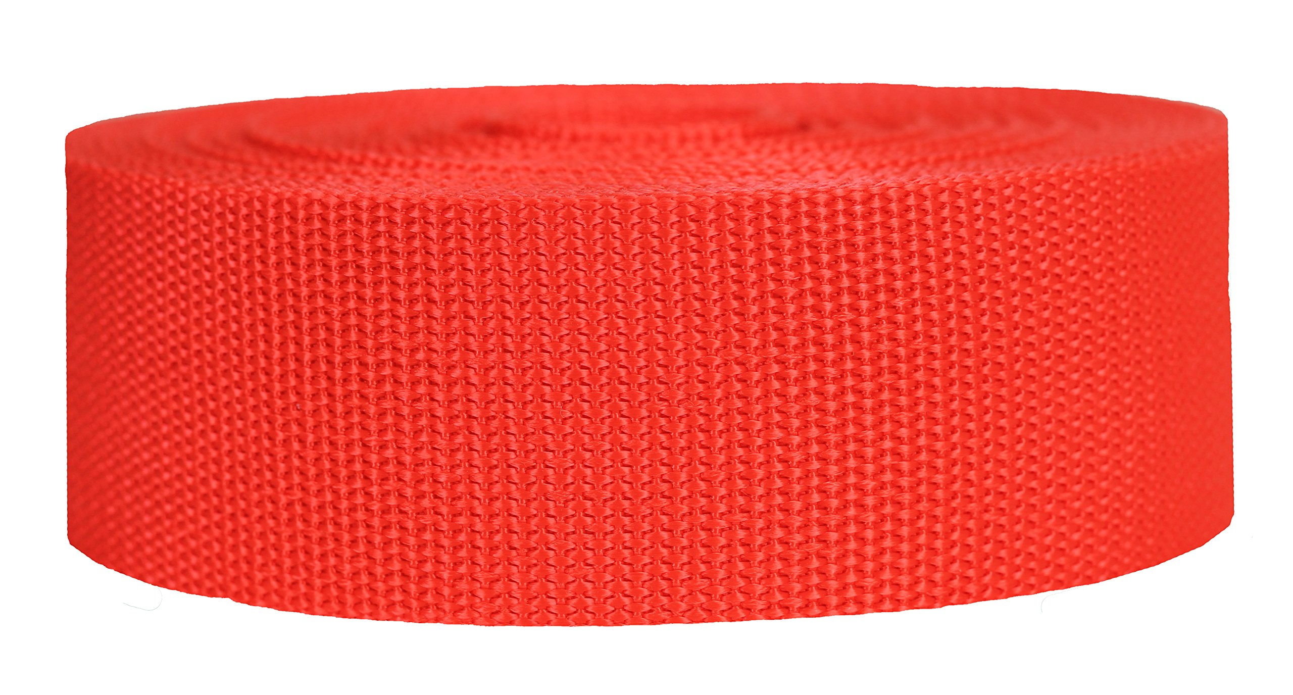 Strapworks Heavyweight Polypropylene Webbing - Heavy Duty Poly Strapping for Outdoor DIY Gear Repair, 2 Inch x 10 Yards - Blood Orange