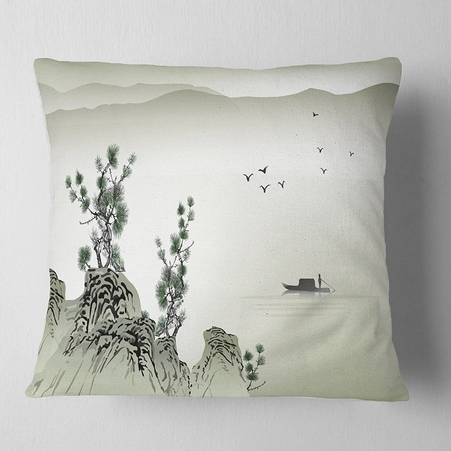 Sofa Cushion Cover Printed On Both Side Designart Cu6491 16 16 C Mountains And Sea Landscape Printed Throw Cushion Pillow Cover For Living Room 16 Inches Round Pillow Insert Home Kitchen Throw Pillow Covers