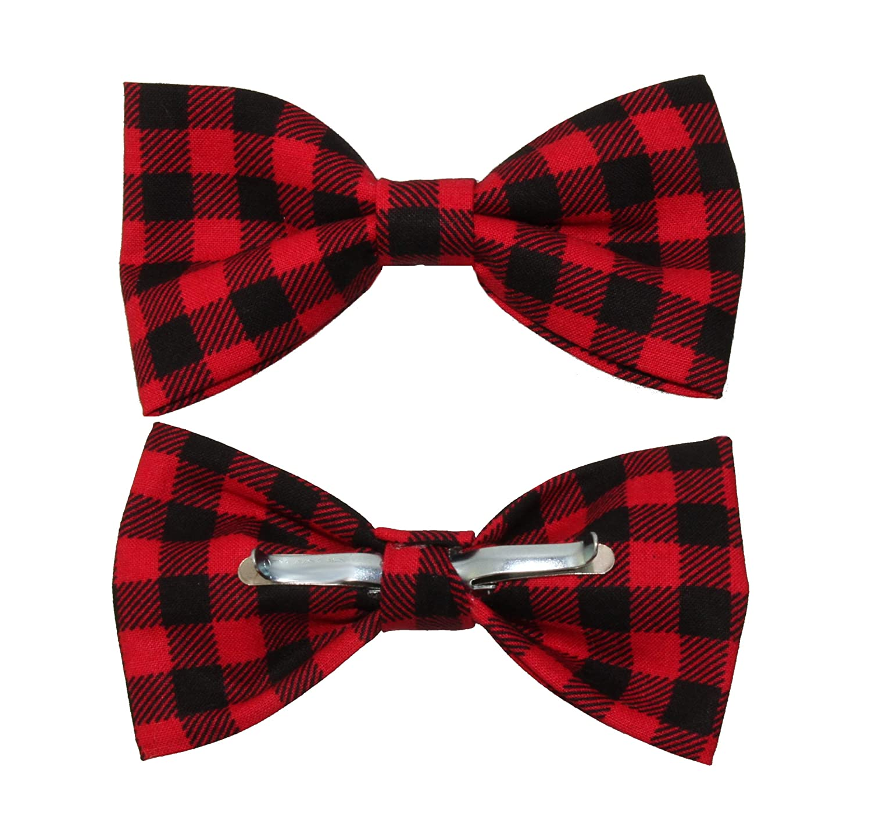 353663bec9f Amazon.com: Men's Red Black Buffalo Plaid Clip On Cotton Bow Tie Novelty  Bowtie: Clothing