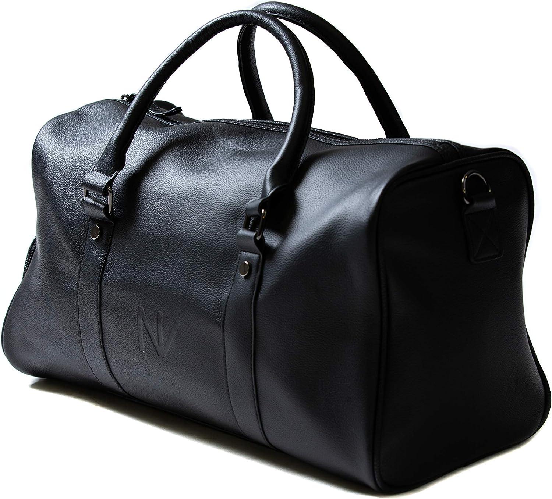 NV BAGS Duffle Gym Travel Duffel Leather Sports Overnight Weekender Black Bag black