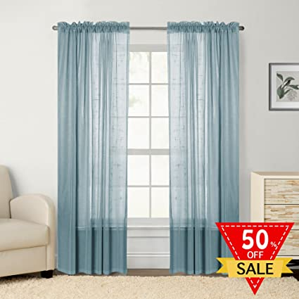 Faux Linen White Sheer Curtains/Drapes For Bedroom Window (Pack Of 2 Panels,
