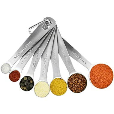 Stainless Steel Measuring Spoons Set: 7 Spoon Metal Sets of 7 for Dry Measurement - Home Kitchen Gadget, Tool & Utensils for Cooking & Baking - Perfect Wedding or Housewarming Gift