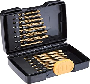 AmazonBasics High Speed Steel Drill Bit Set - Titanium Finish, 21-Piece