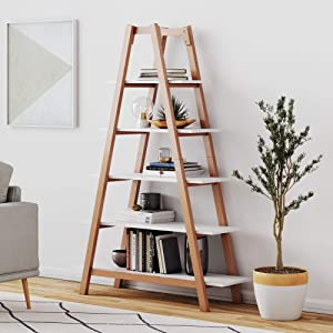 Nathan James 62201 Carlie 5-Shelf Ladder Bookcase, Display or Decorative Storage Rack with Rove Wooden Ladder Shelves. White/Brown
