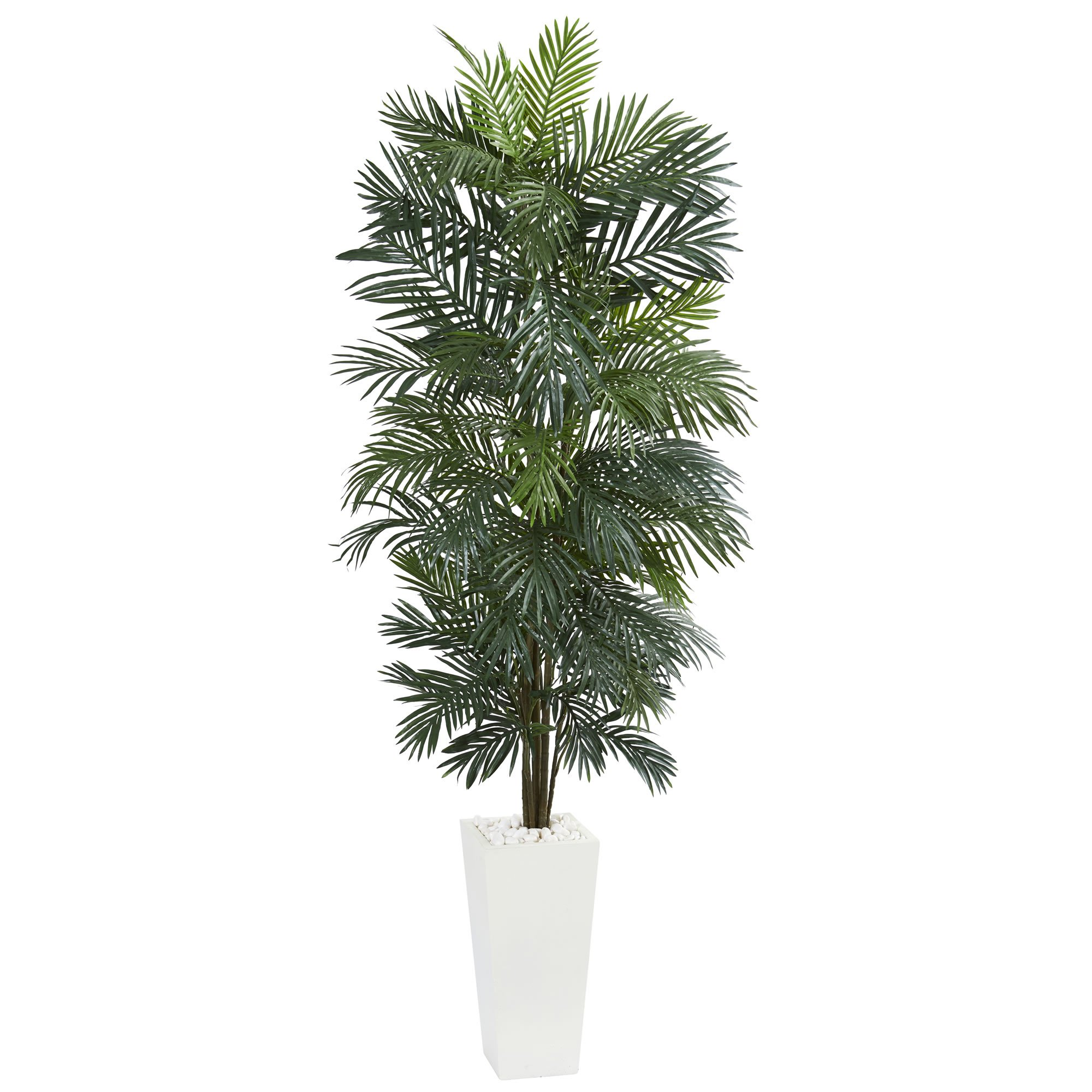 Nearly Natural 5876 7' Areca Tree in White Tower Planter Artificial Plant Green by Nearly Natural