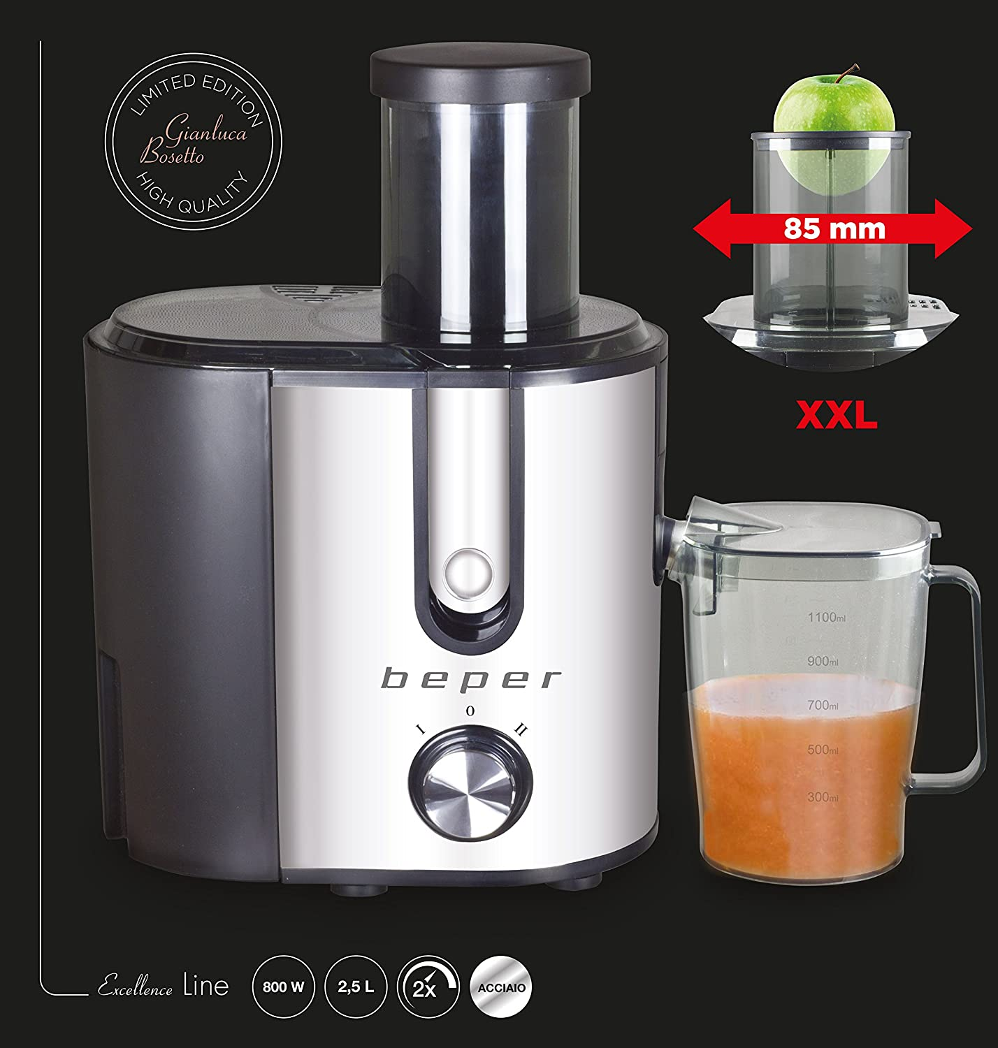 Beper Juice Extractor Body and Filter in Steel 90.424
