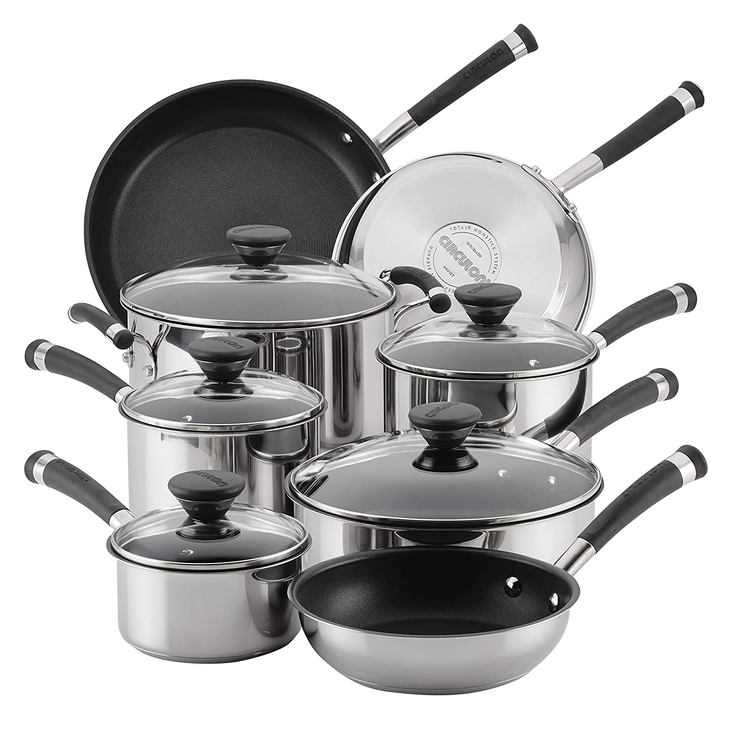 Circulon Acclaim Stainless Steel Nonstick Cookware Set, 13-Piece, Silver